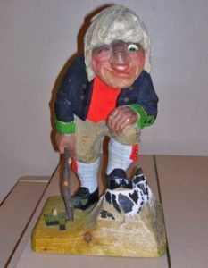"Stakkars Lars - (Poor Lars) Trollheim's large wooden troll mascot, made by ""Henning of Norway*, dates back to 1974"